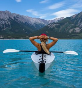 Kayak and mountains