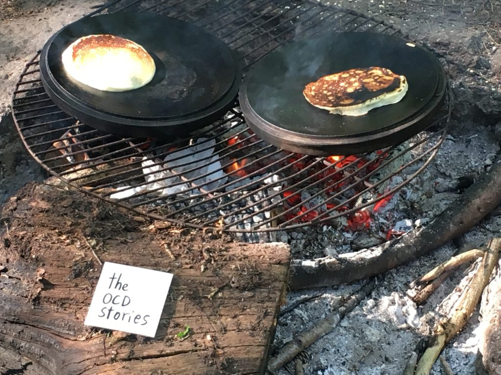 Camp fire - cooking pancakes